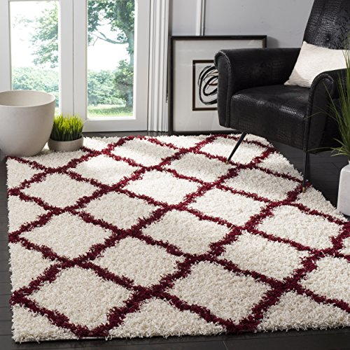 Safavieh Dallas Shag Collection SGD257R Ivory and Red Square Area Rug (6' Square) (Area Red Rugs Shag)