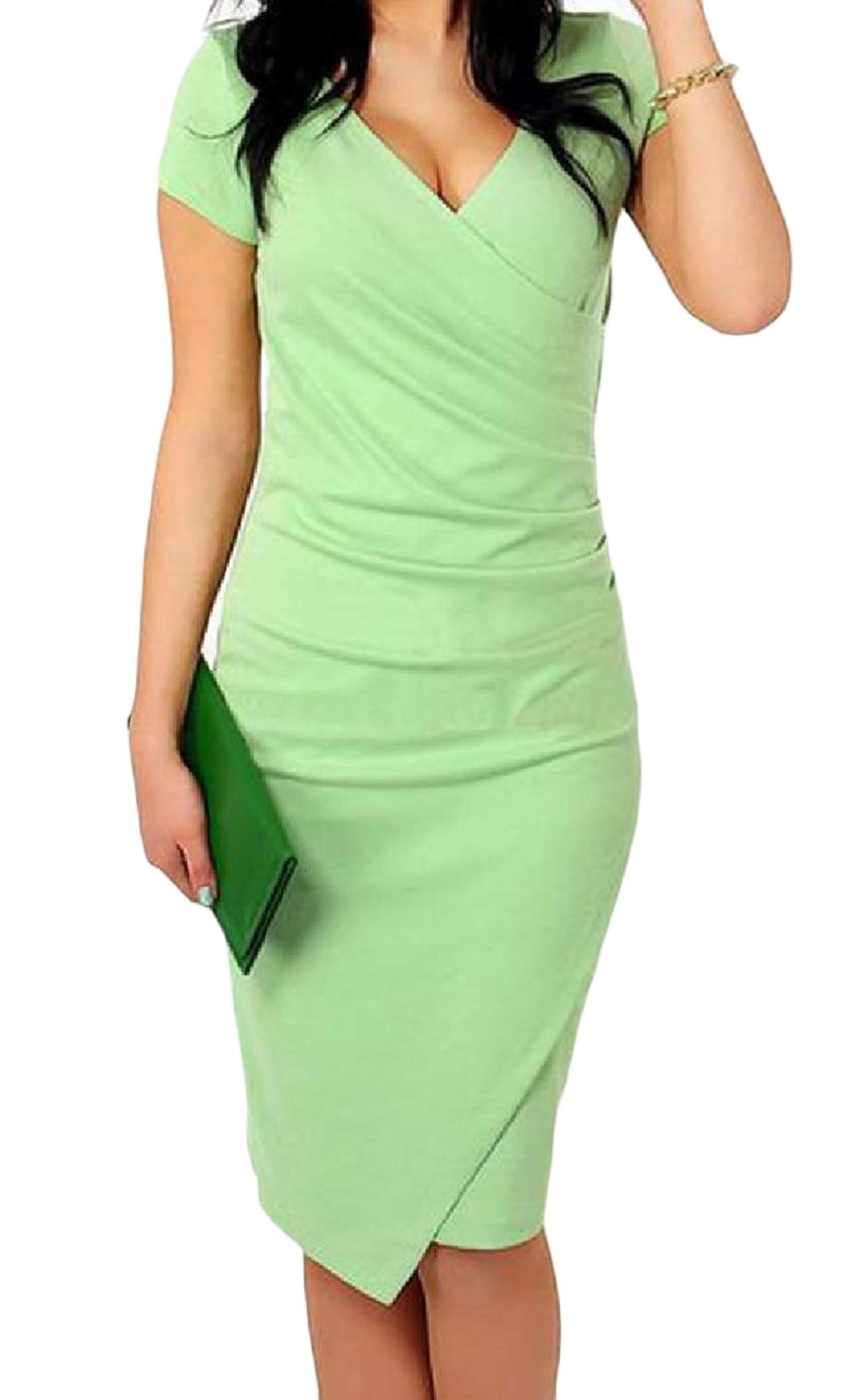 DressU Womens Office Sexy V Neck Candy Short Sleeves Fit Cross Midi Dress Green XS