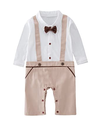 db99bdcad7fb Image Unavailable. Image not available for. Color  May s Baby Boys Long  Sleeves Printing Bowtie Suspenders Romper Onesie