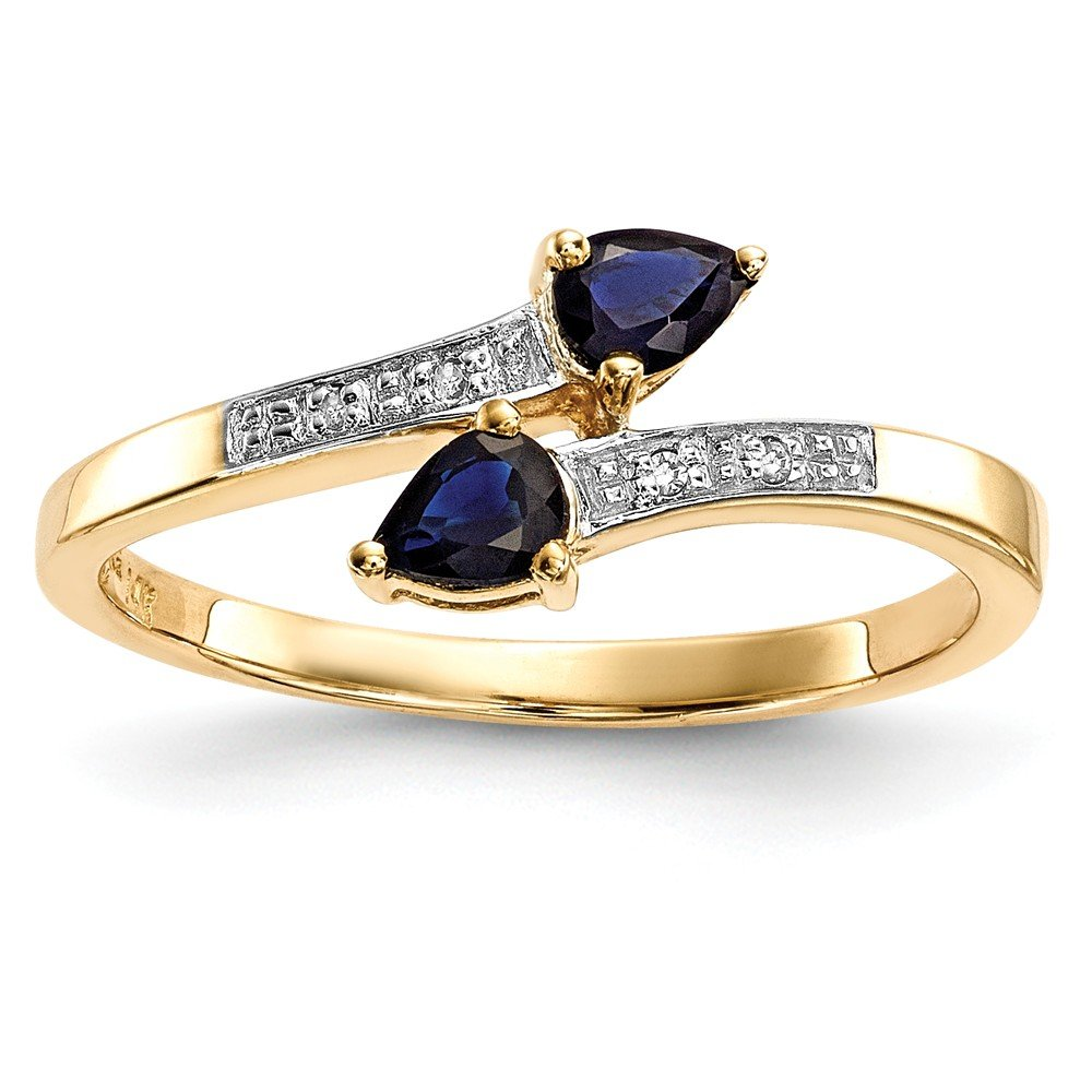 14k Gold With Diamond and Sapphire Polished Ring
