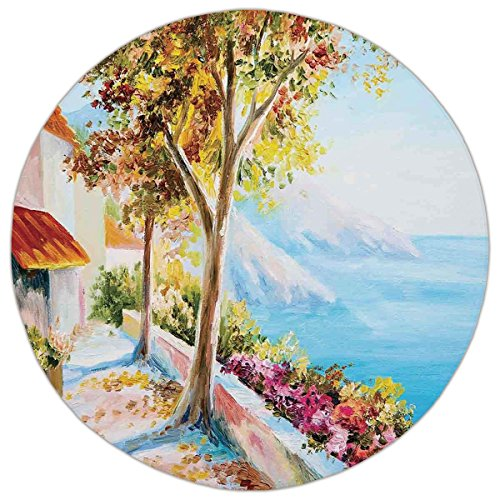 ug,Landscape,Summer House Sea Mountain Terrace Trees and Flower Bed in Autumn,Light Blue Pink and Green,Home Decor Mat with Non Slip Backing ()