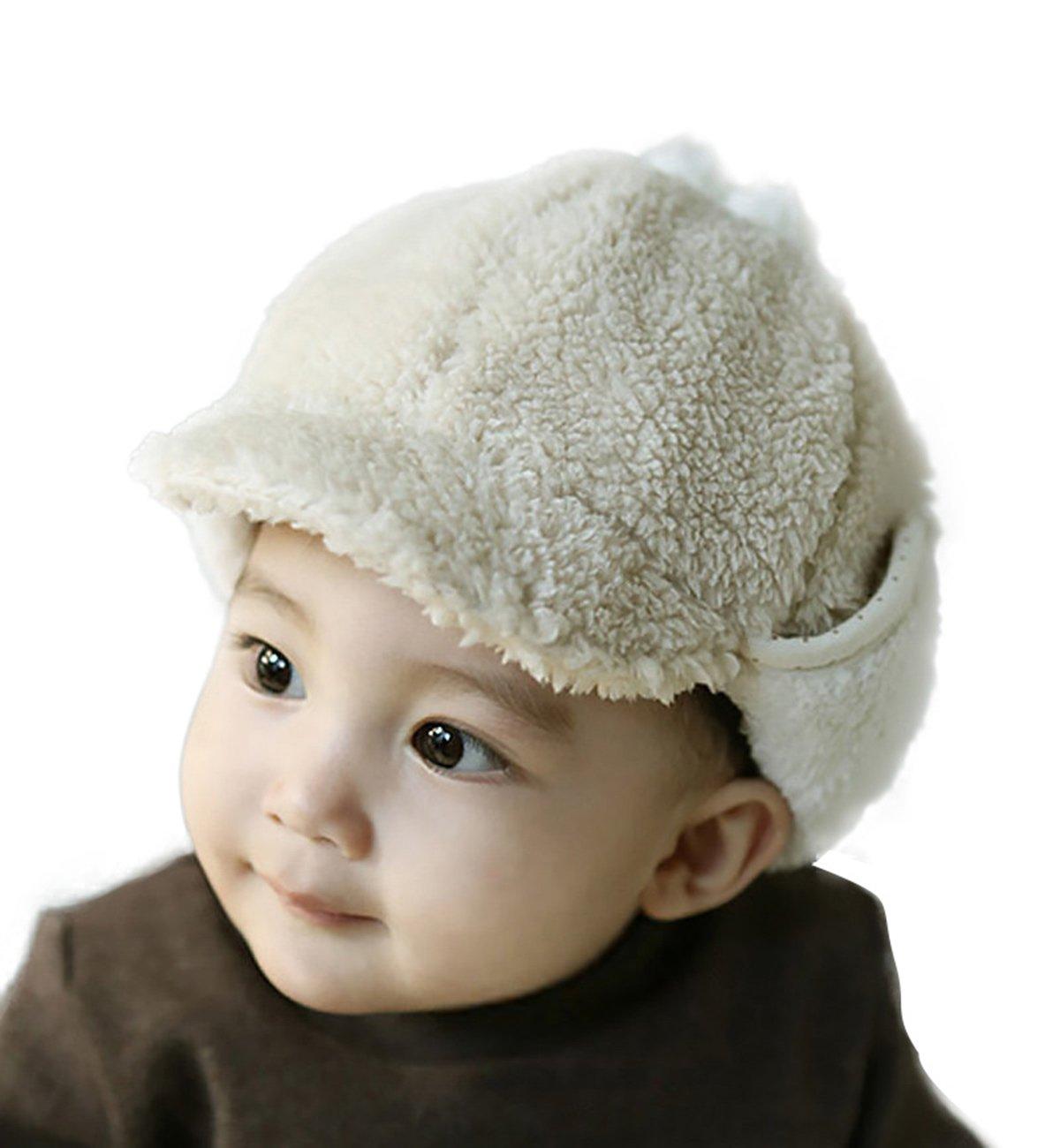 SUMOLUX Baby Infant Toddler Boys Winter Earmuffs Peaked Cap Warm Plush Soft Beanie Hat