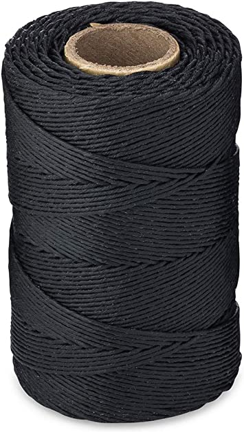 Each roll 1,005 feet 335 Yards 115-Pound Loop Strength Cable Tie Down Lacing | 9-ply Waxed 100/% Polyester Black /& White Twine//Cord