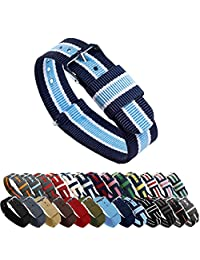 BARTON Watch Bands - Choice of Color, Length & Width (18mm, 20mm, 22mm or 24mm) - Navy/Sky/Ivory 22mm Width - Ballistic Nylon