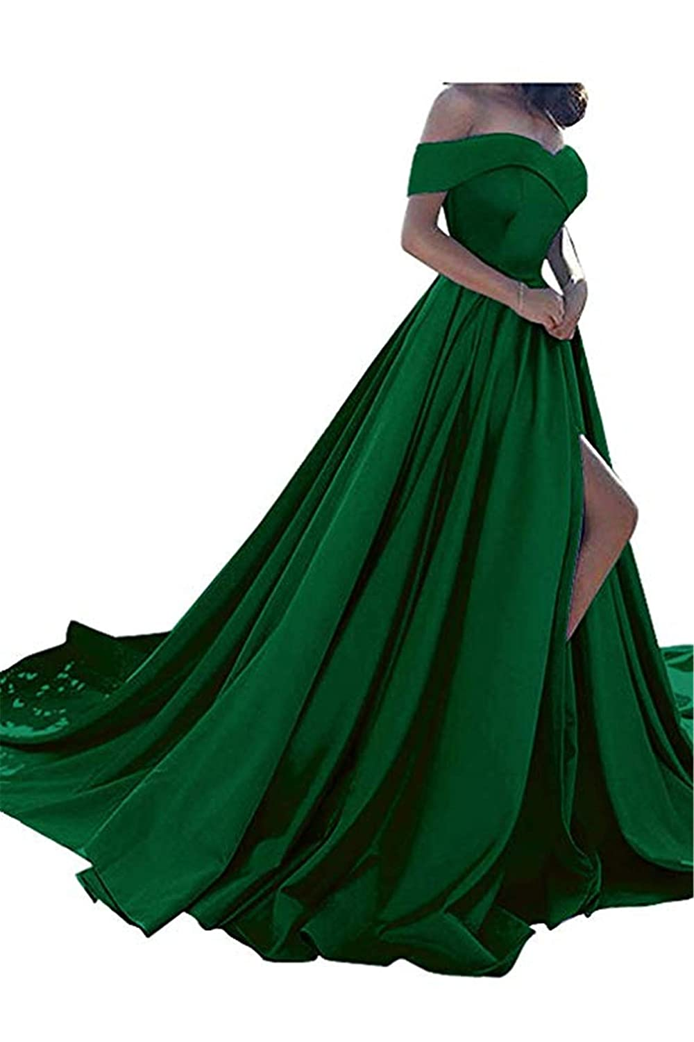 Dark Green QiJunGe Women's Off The Shoulder A Line Prom Dress Split Satin Formal Evening Gowns Long