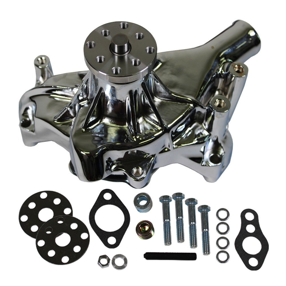 Long Water Pump Chrome High Volume for SBC Small Block Chevy 350 383 by DEMOTOR PERFORMANCE
