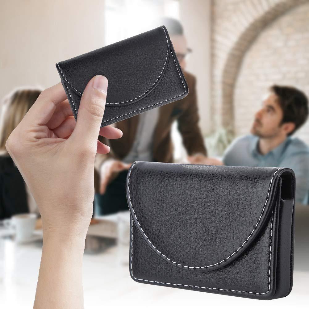 Porta biglietti da visita Portafoglio porta carte di credito in pelle leggera da uomo nero