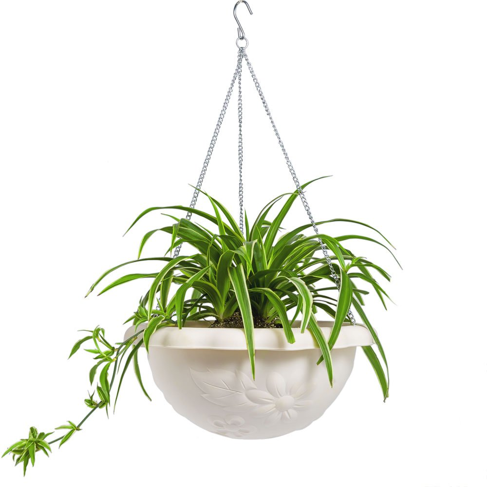Mkono Plastic Hanging Plant Planter Basket with Chain for Indoor Outdoor Plants, 13'' Diameter