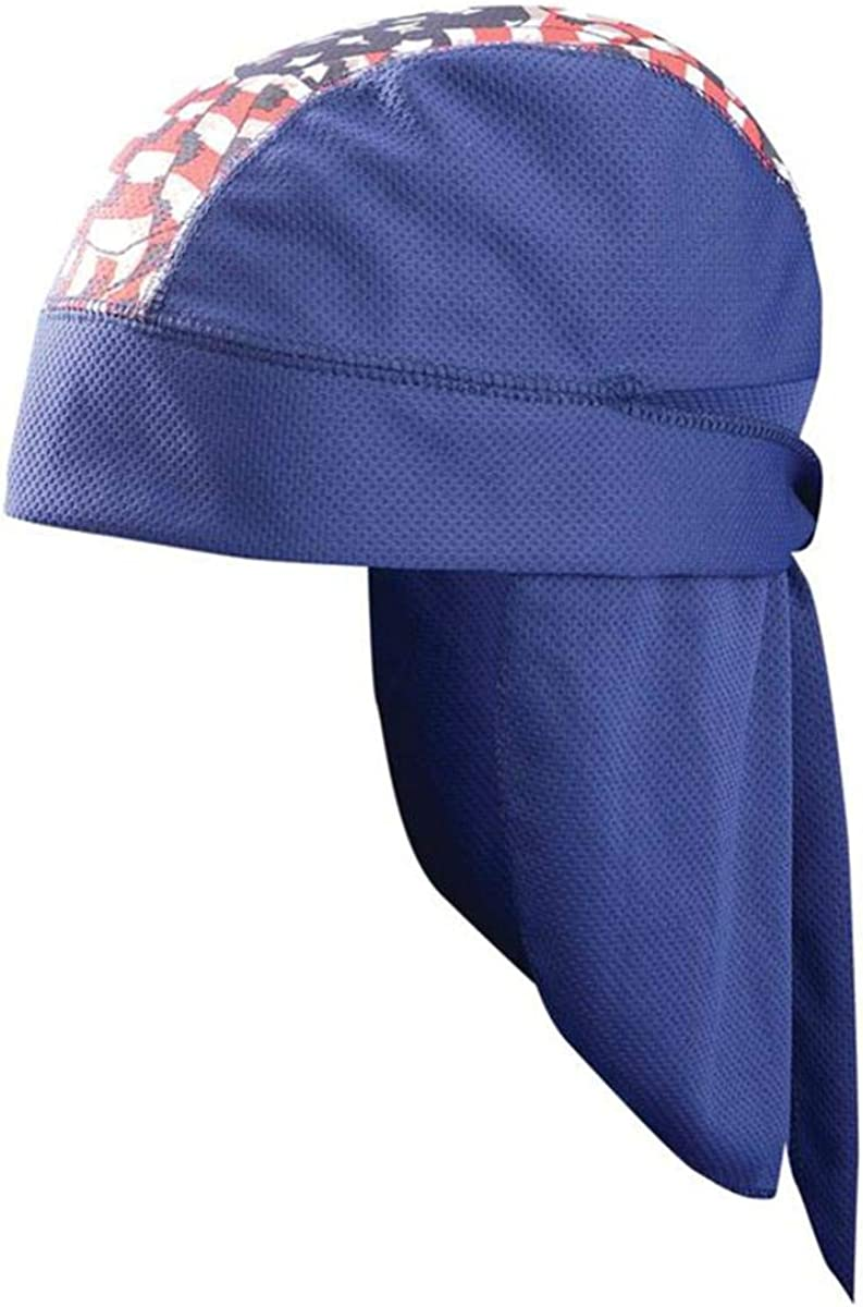 OccuNomix Tuff & Dry Wicking & Cooling CoolCore Extended Neck Shade Skull Cap - Navy with Flag Design - TD201-WN