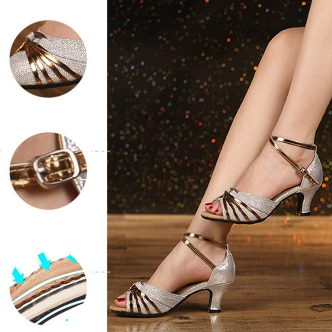 Zapatos de Baile Latino de Tac/ón Medio para Mujer Zapatillas de Baile de Sal/ón Salsa Performance de Moda Brillante