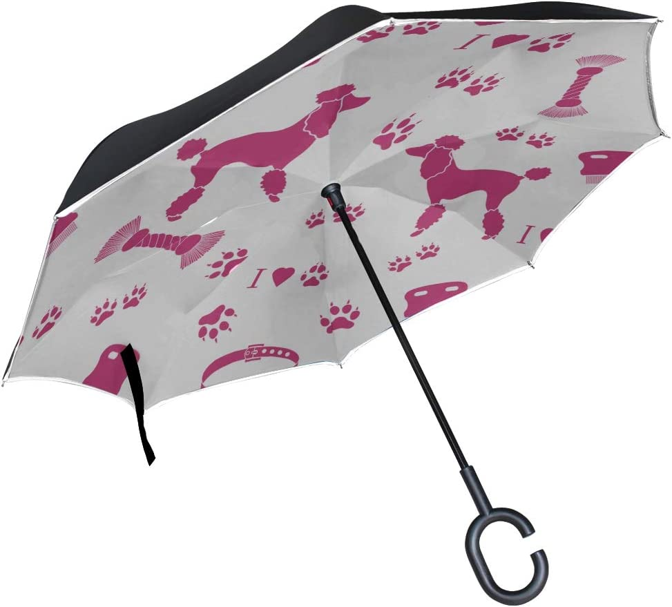 Double Layer Inverted Inverted Umbrella Is Light And Sturdy Pattern Poodle Silhouette Comb Collar Reverse Umbrella And Windproof Umbrella Edge Night