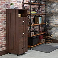 Furniture of America Ceris Rustic Slatted 3-drawer Mobile Vintage Walnut File Cabinet