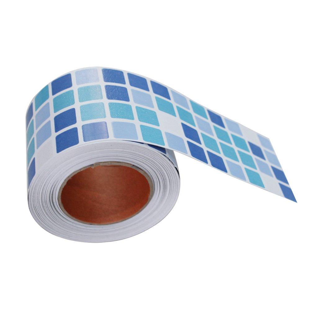BESTONZON Tuile impermé able de mosaï que de mosaï que impermé able d'individu et tuile de bâ ton pour la dé coration de salle de bains de cuisine (bleu)