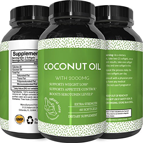 Pure Extra Virgin Cold Pressed Coconut Oil Pills for Weight Loss - Supplements for Immune System & Metabolism Booster - Natural Appetite Suppressant for Fat Loss Healthy Skin & Hair Care Natural Vore