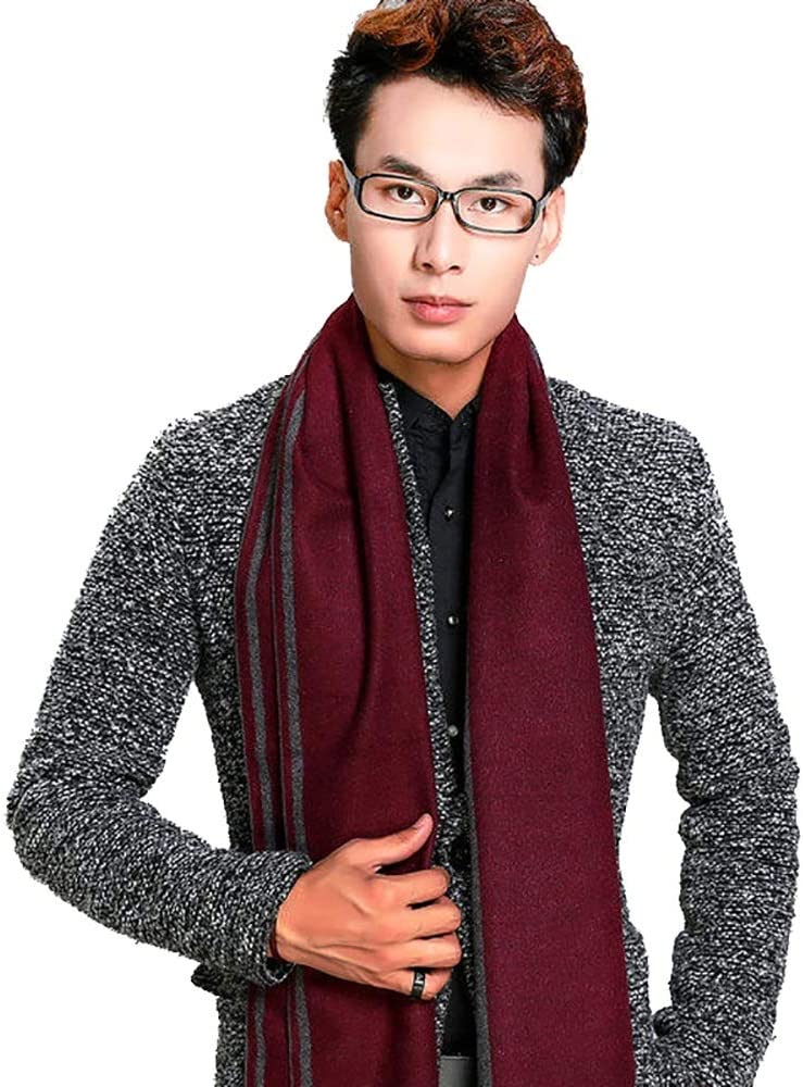 HONGkeke Mens Autumn Winter Warm Scarf Striped Grid Neckerchief Tartan Scarves Paisley Bandannas Bandelet 18030cm for Men Long Shawls Fashion Durable Color : 3, Size : 18030CM