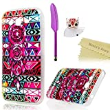 Galaxy Grand Prime Case - Mavis's Diary Shockproof Soft TPU Rubber Case Colorful Tribal Campanula Pattern Clear Cover for Samsung Galaxy Grand Prime G530 & 3D Bling Red Owl Dust Plug & Feather Stylus