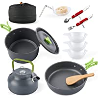 eatcamp Camping Cookware Camp Cookware Set with Kettle Compact Camping Aluminum Cookware Set 12 Pcs Backpacking for…