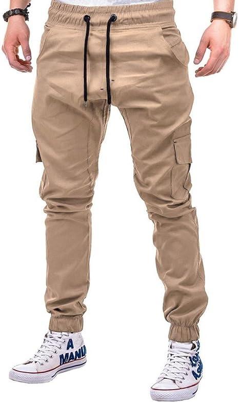 Wofupowga Mens Trousers Slim Fit Elastic Waist Sports Pants Red L