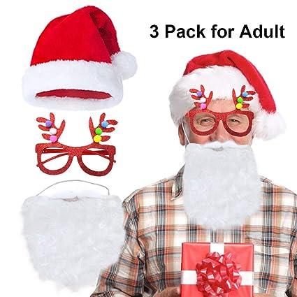 fa86255b Amazon.com: Plush Santa Hats Christmas Red Hat Caps Santa Beard ...