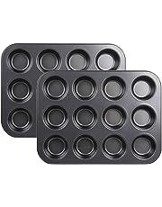 2 moldes para horno con 12 agujeros para cupcakes, de Stonges. Capa antiadherente,