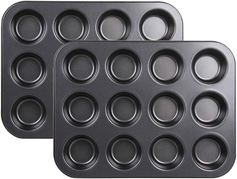 2 moldes para horno con 12agujeros para cupcakes, de Stonges. Capaantiadherente, para hornear, bandeja de horno cuadrada