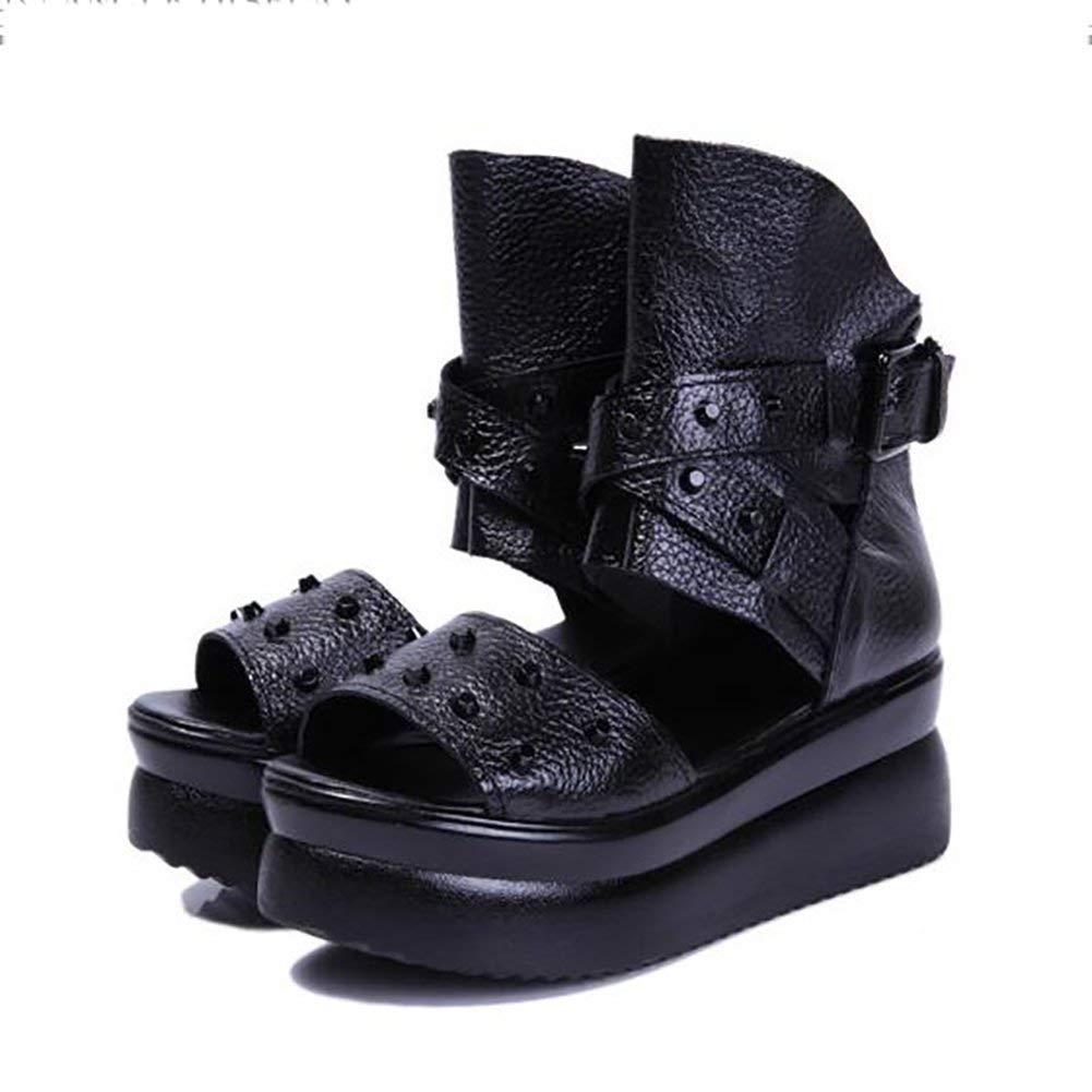 Oudan Damen Sandalen Leder Rutschfest Slipper Bodenständig Unten Hoch - Absatz Keil Schuhe A 38 (Farbe   B Größe   39)