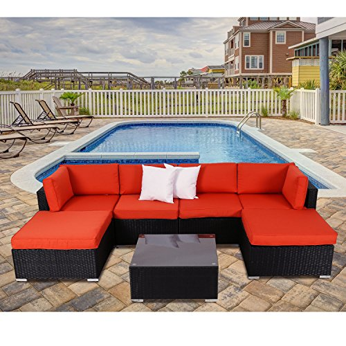 Peach Tree 7 PCs Outdoor Patio PE Rattan Wicker Sofa Sectional Furniture Set With 2 Pillows and  ...
