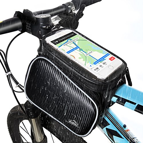 HiHiLL Bike Phone Bag, Bike Bag with Waterproof Touch Screen for iPhone X/6/7/8 Plus, Samsung Galaxy S9/S8 Plus, 4.7-6.0 Phones