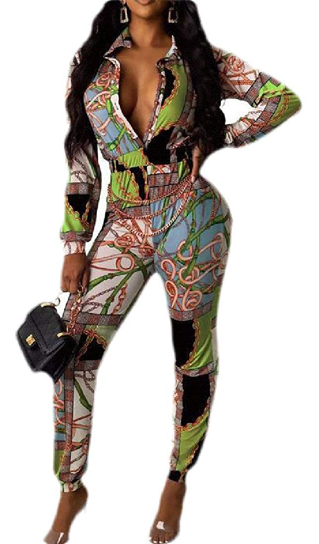 CRYYU Women Club Stylish Print Long Sleeve Deep V Neck Romper Jumpsuits