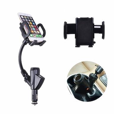 GS soporte de coche universal teléfono móvil soporte soporte wiith Dual USB cargador de coche adaptador de mechero Outlet para iphone ...