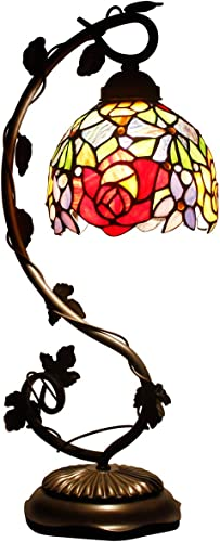 Tiffany Desk Lamp Red Rose Style Stained Glass Table Reading Light W6h20 Inch S001 WERFACTORY Lamps Lover Girlfriend Women Kid Living Room Bedroom Office Coffee Bar Desk Bedside Nightstand Craft Gift