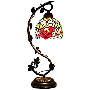 Tiffany Lamp Red Rose Style Stained Glass Table Lamps Wide 6 Inch Height 22 Inch for Lover Girlfriend Women Living Room Antique Desk Beside Bedroom S001 WERFACTORY