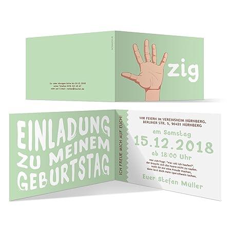30 x Einladungskarten runder Geburtstag 50 Jahre Geburtstagseinladungen - Handzeichen
