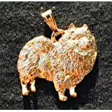 Keeshond Dog 24k Gold Plated Pewter Pendant sale off 2017