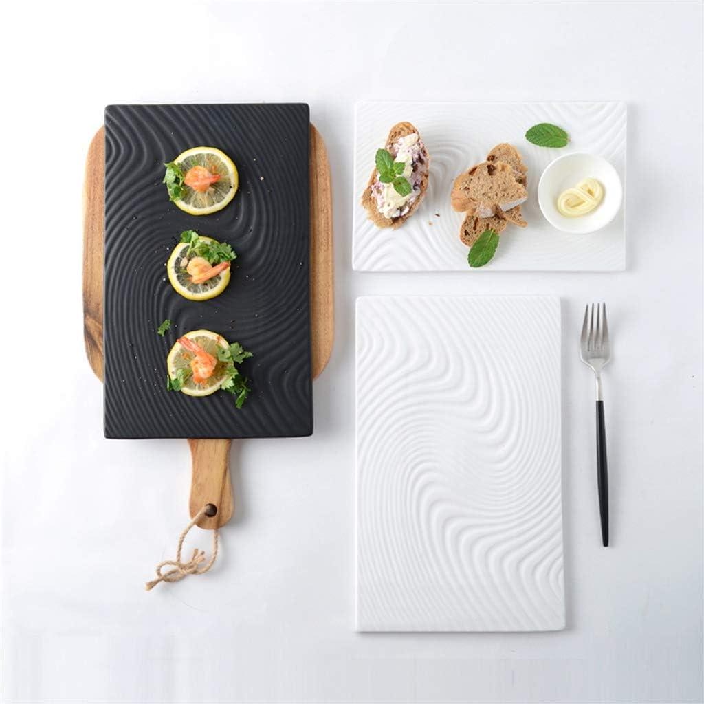 Noir 10//12 Pouces r/ésistant /à la Chaleur Baie vitr/ée Brillant utilis/é for Le Pain Dessert Sashimi CHRYE-Assiettes D/îner rectangulaire Plate//Sushi Vaisselle Ripple Eau Texture Facile /à Nettoyer