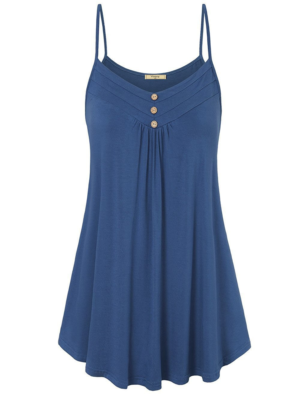 Viracy V Neck Tank Tops Women, Ladies Strappy Cami Fashion 2018 Summer Prime Trendy Classic Slender Airy Pleated Tunic Business Casual Loose Inner Shirts Solid Color Blue XL