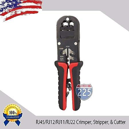 RJ45//12//11//22 Dual Modular Crimping Tool for CAT5e//Cat6//Cat3 Wire w// Ratchet USA