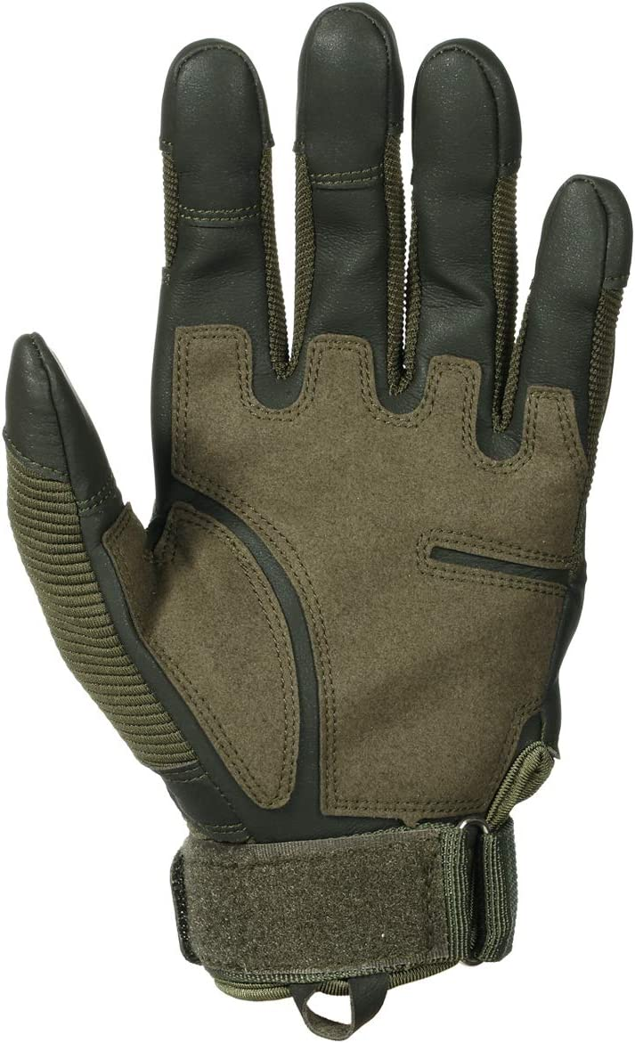 WTACTFUL Touch Screen Full Finger Gloves for Tactical Motorcycle Cycling Bicycle Motorbike ATV Riding Driving Racing Hiking Riding Climbing Camping Work Sports Gloves Size Green Large Men Women