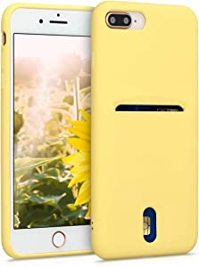 kwmobile Case Compatible with Apple iPhone 7 Plus / 8 Plus - Phone Cover with Card Holder and Rubber Finish - Yellow