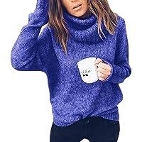 Tomwell Pull Femme Automne Hiver Élégant Col Roulé à Manches Longues Chic Chaud Tricot Hauts Tunique Pullover Ample Sweater