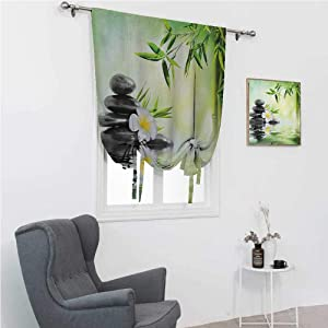 GugeABC Curtains Blackout Spa Room Darkening Roman Shades Garden with Frangipani Bamboo Japanese Relaxation Resting Travel 39