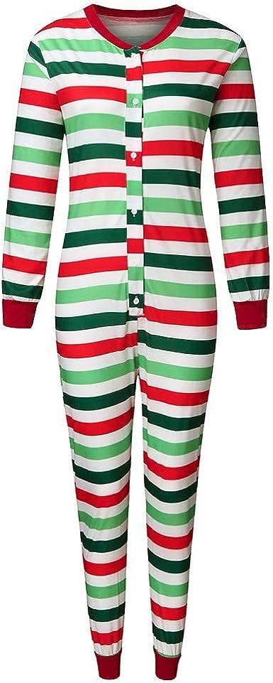 Pijama de Navidad para familia, mono de cuerpo entero con rayas de colores, ropa de noche para mujer, hombre y niños, de manga larga, pijama familiar ...