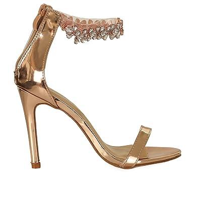 48412b74b Rose Gold Rhinestone Detail Ankle Strap Single Sole Heels  Amazon.co ...