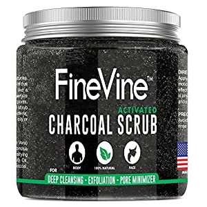 Activated Charcoal Scrub - Made in USA - For Deep Cleansing, Exfoliation, Acne Scars, Blackhead Remover, Reduces Wrinkles, Pore Minimizer and Cellulite Treatment - Best Body Scrub & Facial Cleanser.
