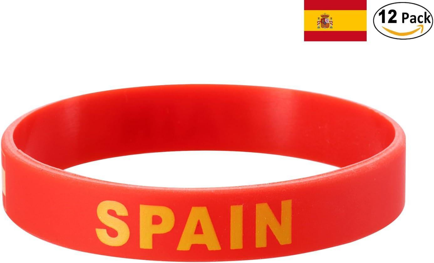 YDT 2018 Copa Mundial de la FIFA Brazalete Deportivo Pulseras de la Bandera Nacional de Silicona para los Fanáticos del Fútbol España Roja (12 Piezas): Amazon.es: Deportes y aire libre