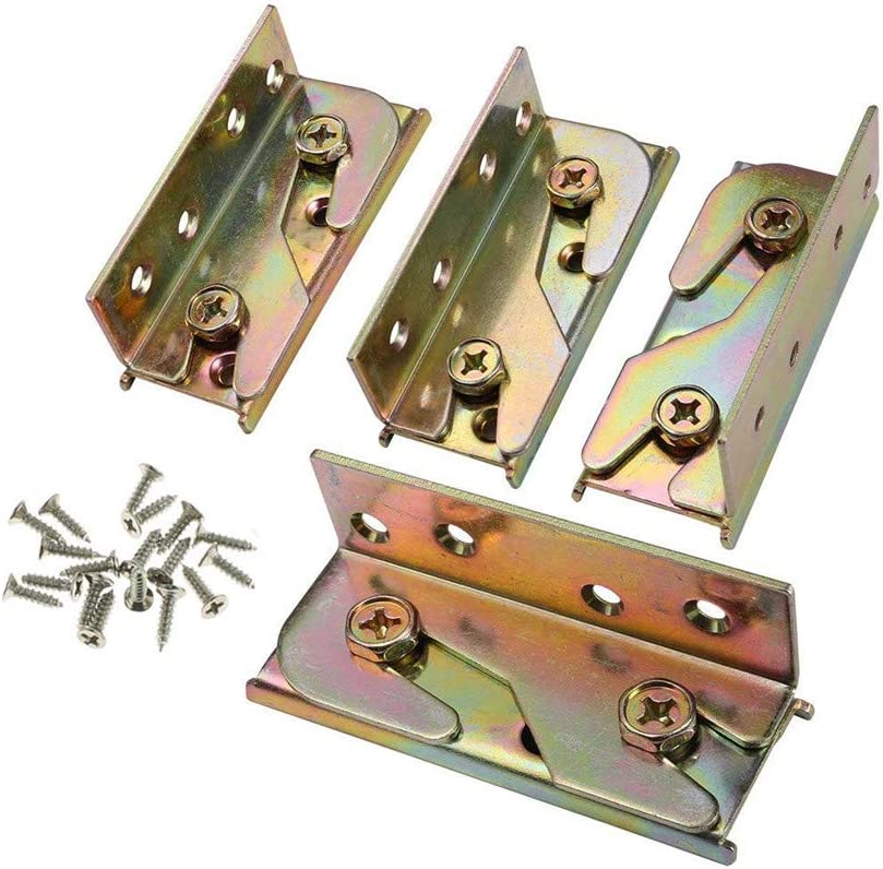 """4"""" Bed Rail Bracket - Bed Rail Fittings Duty Non-Mortise - Furniture Bed Connector-Thick Bed Hook Set of 4 (Screws Included)"""