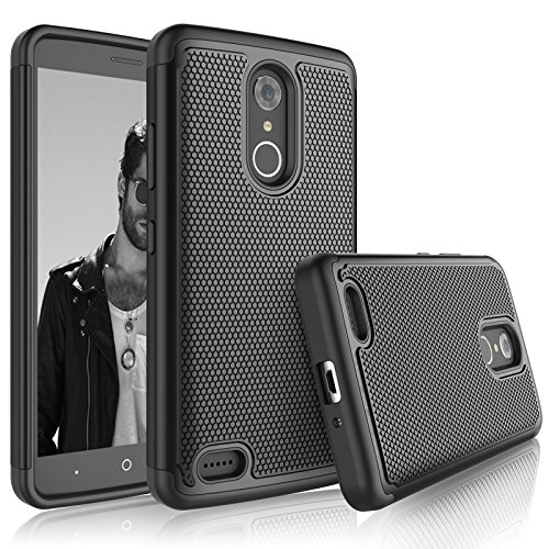 Tekcoo ZTE Max XL Case, Tekcoo ZTE Max XL Sturdy Cover, [Tmajor] Shock Absorbing [Jet Black] Rubber Silicone & Plastic Scratch Resistant Defender Bumper Grip Rugged Hard Cases for ZTE Max XL/N9560