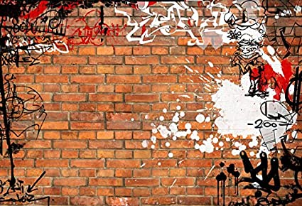 Amazon Com Baocicco Graffiti Backdrop Vintage Brick Wall Backdrop