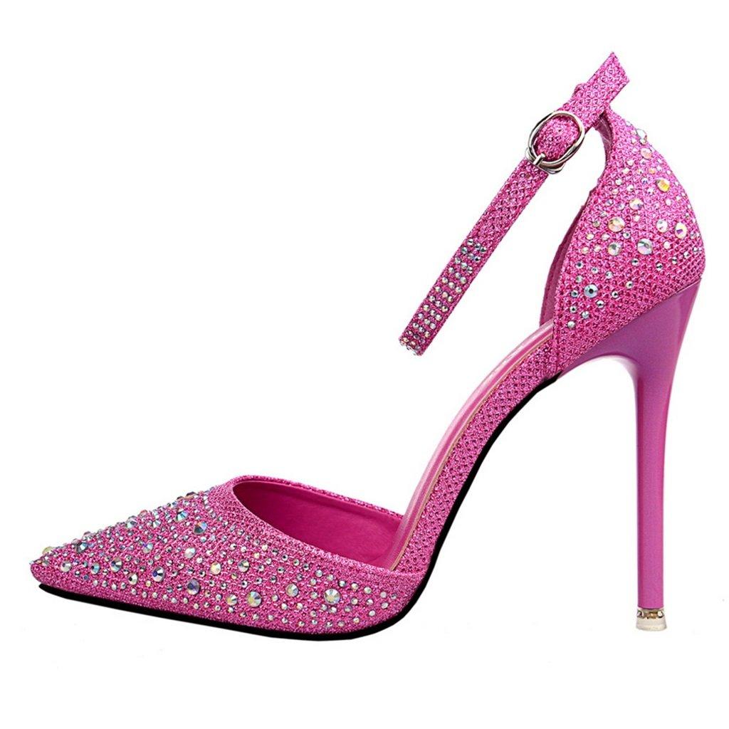ALUK- ALUK- ALUK- Damenschuhe - High Heels Spitze Schuhe Pailletten Strass Hochzeit Schuhe Sexy Party Schuhe ( Farbe   Rosa Rot , größe   35-schuhe long225mm ) 49223f