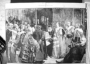 La Impresión Victoriana Antigua Original Vieja Dañó a Señores de la Casa de Duque Clarence Avondale Takes Seat 1890 191TJ781
